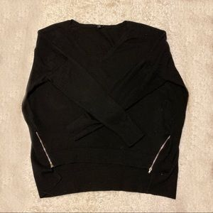 Express High/Low V-Neck Sweater with Zipper Detail